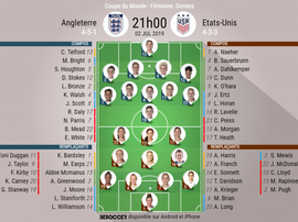 Les compos officielles de la demie de Mondial féminin entre l'Angleterre et les USA. BeSoccer