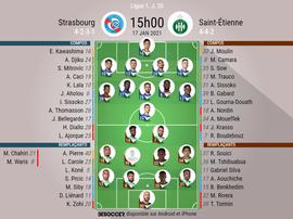 Compos officielles, Strasbourg-Saint-Étienne, Ligue 1, J 20, 17/01/2021, BeSoccer