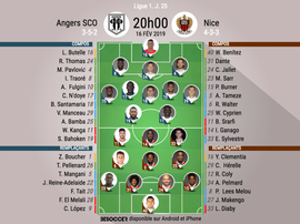 Compos officielles Angers-Nice, J25, Ligue 1, 16/02/19. BeSoccer