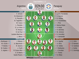 Compos officielles Argentine - Paraguay, J2, Copa América, 20/06/2019. Besoccer