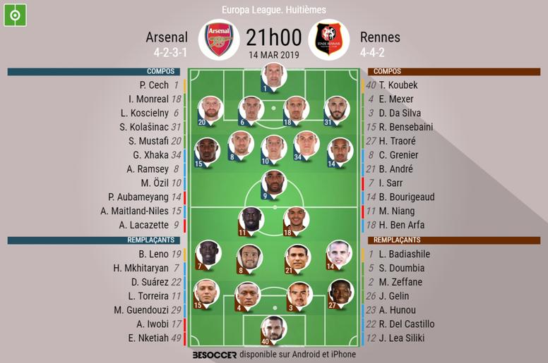Compos officielles Arsenal-Rennes, 1/8e retour d'Europa League, 14/03/2019. BeSoccer