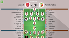 Compos officielles Arsenal-Vorskla Poltava, 1ère journée d'Europa League, 20/09/2018. BeSoccer