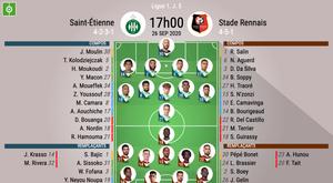Compos officielles ASSE - Stade Rennais, Ligue 1, J5, 2020. BeSoccer