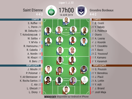 Compos officielles ASSE-Bordeaux, Ligue 1, J.32, 14/04/2019, BeSoccer.