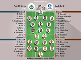 Compos officielles ASSE-La Gantoise, Europa League, J.5, 28/11/2019, BeSoccer
