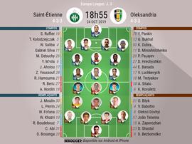 Compos officielles ASSE-Oleksandria, Europa League, J3, 24/10/2019. BeSoccer