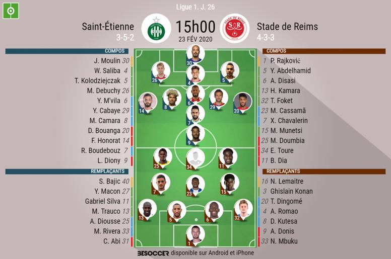 Compos officielles ASSE-Reims. BeSoccer