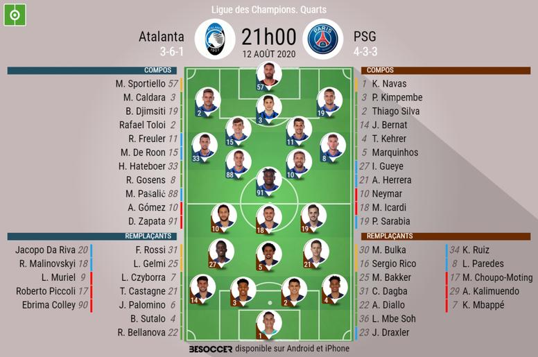 Les compos officielles du match de Ligue des champions entre l'Atalanta et le PSG. BeSoccer