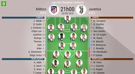 Compos officielles Atlético Madrid - Juventus, 1/8 Champions League, 20/02/2019. Besoccer