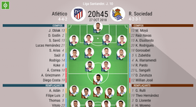 Compos officielles Atletico-Real Sociedad, 10ème journée de Liga, 27/10/2018. BeSoccer