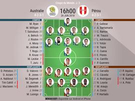 Compos officielles Australie - Pérou 26/06/2018. Besoccer