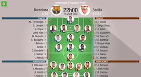 Compos officielles Barça-Séville, Supercoupe d'Espagne 2018-19, 12/08/2018. BeSoccer