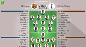 Compos officielles Barça-Tottenham, 6ème journée de Ligue des champions, 11/12/2018. BeSoccer