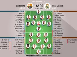 Compos officielles Barcelone - Real Madrid. Liga, J7, 2020. BeSoccer