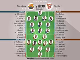 Compos officielles Barcelone - Séville, Coupe du Roi, Quarts, 30/01/2019. Besoccer