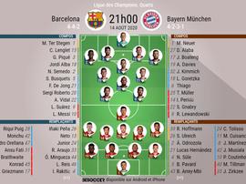Les compos officielles du match de Ligue des champions entre le Barça et le Bayern. BeSoccer