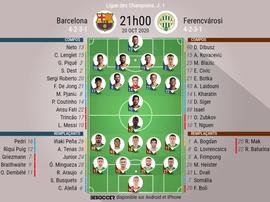 Les compos officielles du match de Ligue des champions entre le Barça et Ferencvaros. BeSoccer