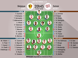 Compos officielles Belgique - Suisse, J3, Ligue des Nations, 12/10/18. BeSoccer