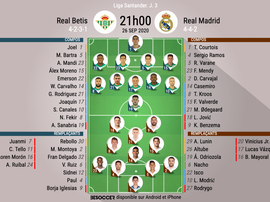 Compos officielles Betis - Real Madrid, Liga, J3, 26/09/2020, BeSoccer