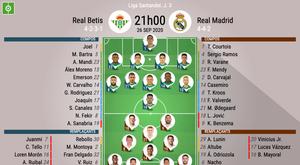 Compos officielles Betis - Real Madrid, Liga, J3, 26/09/2020, BeSoccer