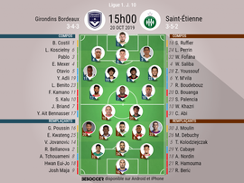 Compos officielles Bordeaux-ASSE, Ligue 1, J10, 20/10/2019. BeSoccer