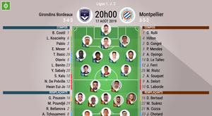 Compos officielles Bordeaux-Montpellier, Ligue 1, J.2, 17/08/2019, BeSoccer.