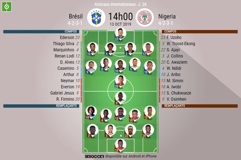 Suivez le direct du match Brésil-Nigéria. BeSoccer