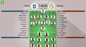 Compos officielles Brésil-Sénégal, amicaux internationaux, 10/10/2019. BeSoccer