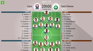 Compos officielles Caen - Saint-Etienne, Ligue 1, J 29, 16/03/2019. BeSoccer