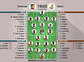Compos officielles Cameroun-Ghana, CAN, Phase de poules, 29/06/2019. BeSoccer.
