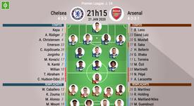 Compos officielles Chelsea-Arsenal, Premier League, J.24, 21/01/2020, BeSoccer