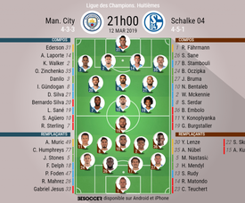 Compos officielles City - Schalke 04, 1/8 retour, Champions League, 13/03/2019. Besoccer