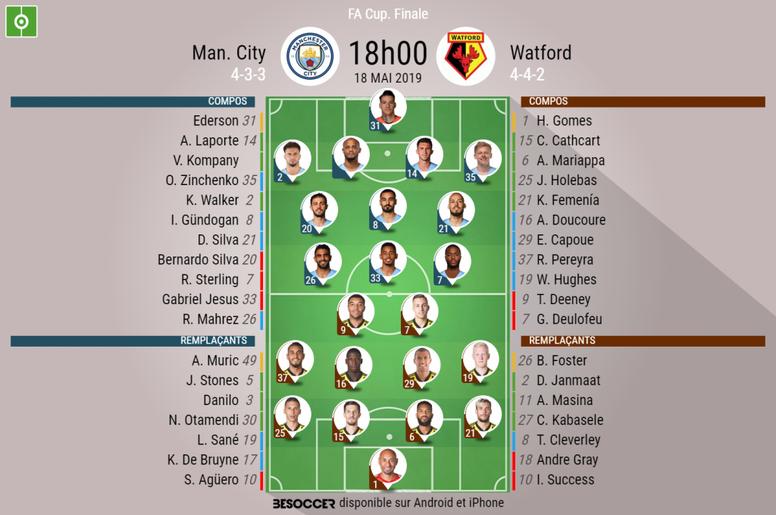 Les compos officielles de la finale de FA Cup entre Manchester City et Watford. BeSoccer