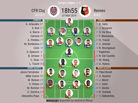 Compos officielles Cluj-Rennes, Europa League, J4, 07/11/2019. BeSoccer