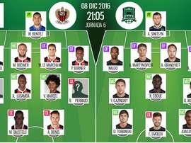 Compos officielles de Nice-Krasnodar de la 6e journée d'Europa League 16-17. BeSoccer