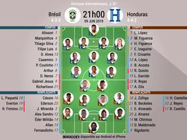 Compos officielles du match amical entre le Brésil et Honduras. EFE