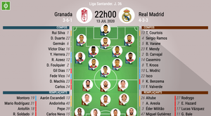 Les compos officielles du match de Liga entre Grenade et Real Madrid. BeSoccer