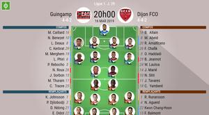Compos officielles Guingamp - Dijon, J29, Ligue 1, 16/03/2019. Besoccer