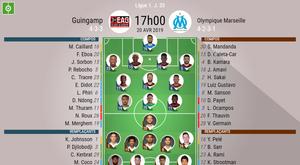 Les compos officielles du match de Ligue 1 entre Guingamp et Marseille. BeSoccer