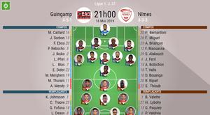 Les compos officielles du match de Ligue 1 entre Guingamp et Nîmes. BeSoccer