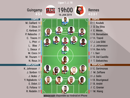 Compos officielles Guingamp-Rennes, J18, Ligue 1, 16/01/19. BeSoccer