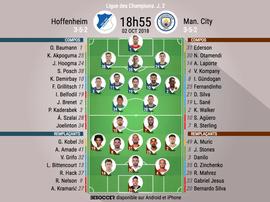 Formazioni titolari Hoffenheim-Manchester City. BeSoccer