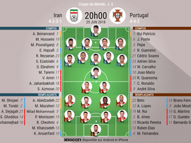 Compos officielles Iran - Portugal, 25/06/2018. BeSoccer