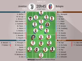 Compos officielles Juventus-Bologne, Serie A, J8, 19/10/2019. BeSoccer