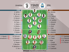 Compos officielles Juventus-SPAL 1907, Serie A, J6, 28/09/2019. BeSoccer