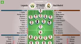 Les compos officielles du match de Liga entre Leganés et le Real Madrid. BeSoccer