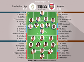 Compos officielles Liège-Arsenal, Europa League, J6, 12/12/2019. BeSoccer