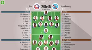 Compos Officielles Lilles - Strasbourg, J13, Ligue 1, 09/11/2018. Besoccer