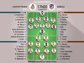 Les compos officielles du match d'Europa League entre le Lokomotiv Moscou et l'Atlético. BeSoccer