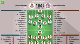 Les compos officielles entre Lokomotiv et le Bayern. BeSoccer